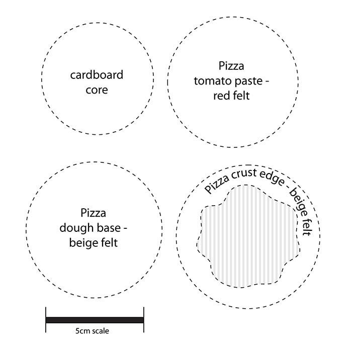 Mini felt pizza pattern