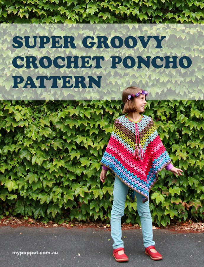 70s style Girls Crochet Poncho Pattern mypoppet.com.au
