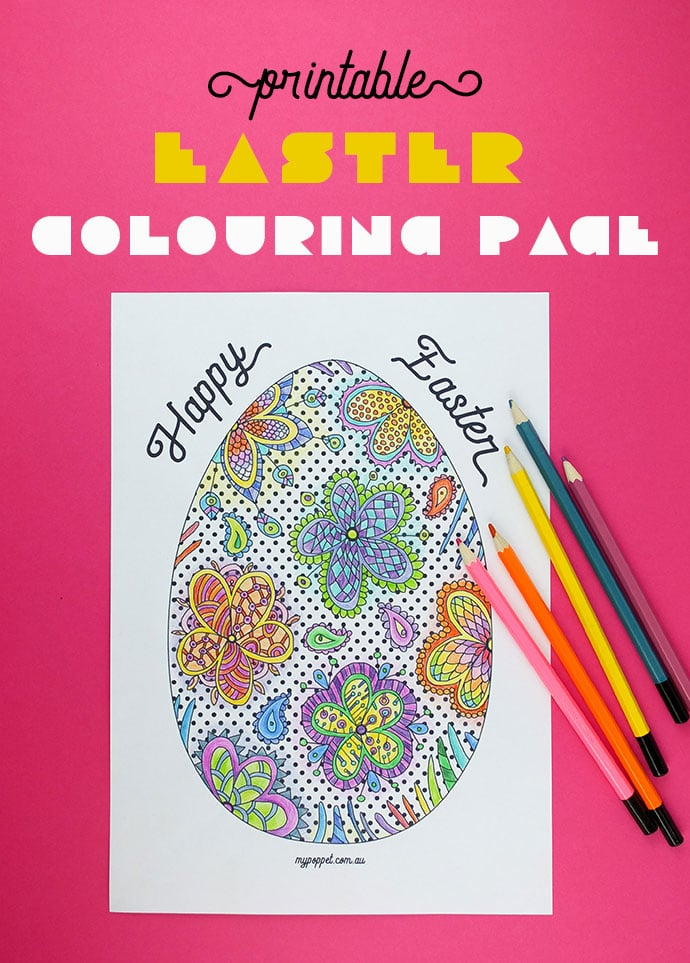 Printable Easter Egg Colouring Page - Adult coloring page - mypoppet.com.au