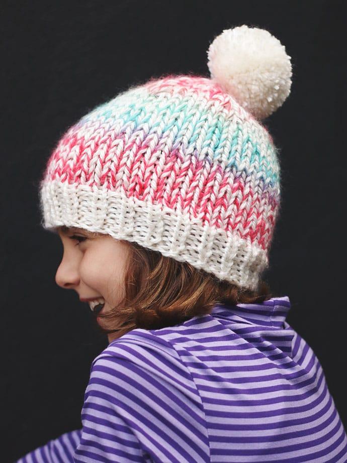 Free knitting pattern - child and adult beanie with pom pom - mypoppet.com.au