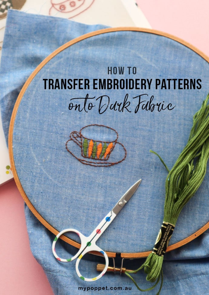 image relating to Printable Embroidery Transfer Paper called How in the direction of Move Embroidery Models on to Darkish Material My
