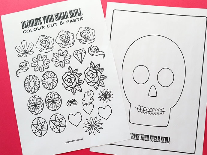 Decorate a Sugar Skull Activity Page mypoppet.com.au