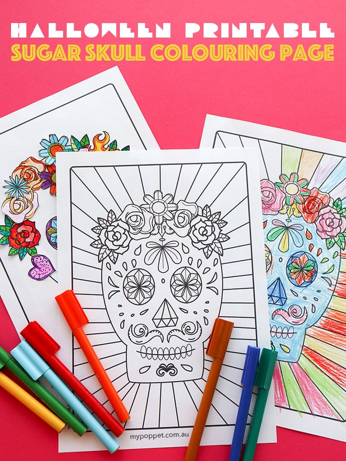 graphic about Halloween Craft Printable called Cost-free Halloween Printable: Working day of the Lifeless Sugar Skull