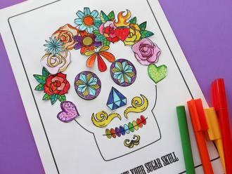 Fun kids Halloween activity page - Decorate a sugar skull - mypoppet.com.au