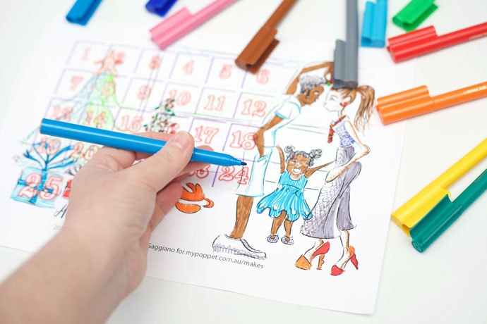 Printable Advent Calendar Colouring Page
