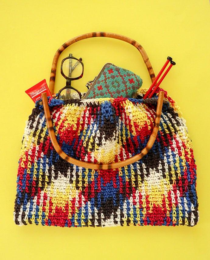 Bamboo handle crochet bag pattern - mypoppet.com.au