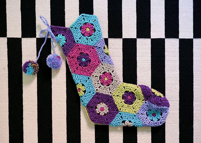 Hexagon Crochet Christmas Stocking