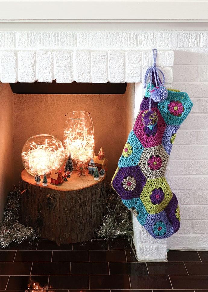 Hexagon crochet christmas stocking - mypoppet.com.au