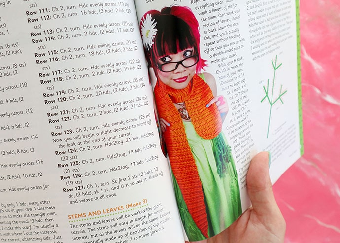 Carrot scarf Book Review - Twinkie Chan's Crochet Goodies for fashion foodies craft book - mypoppet.com.au