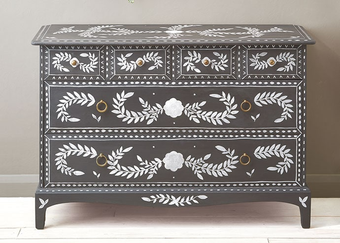 Painted Faux Bone Inlay Dresser Makeover