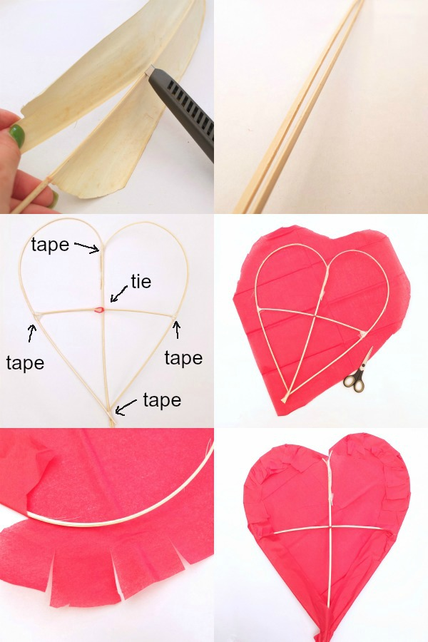 steps for making a heart shaped kite
