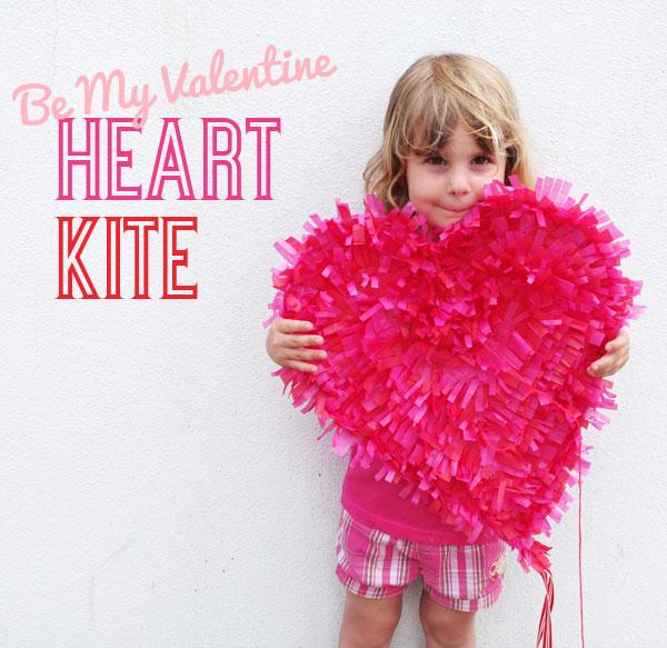 DIY craft heart kite valentine