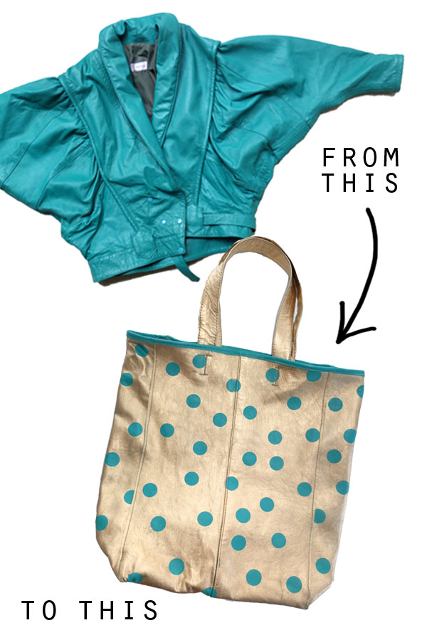 Gold leather tote diy before and after
