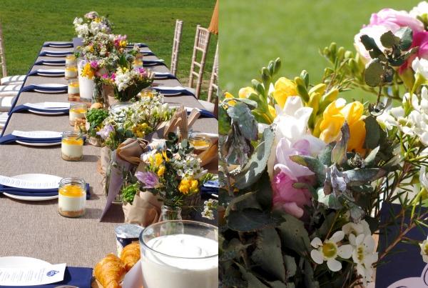 table setting flowers wedding