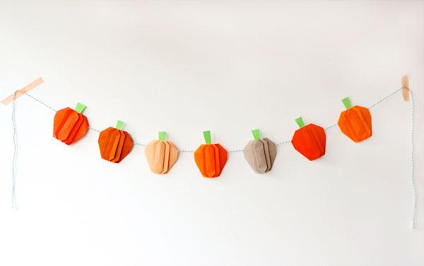 Pumpkin paper origami garland with video tutorial