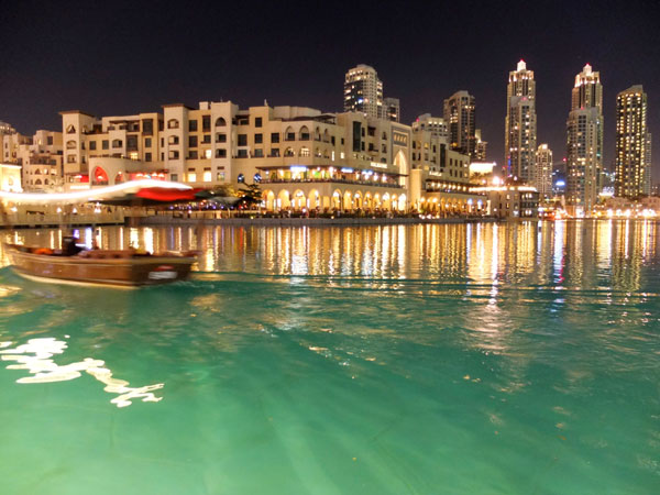 Boat ride on Dubai lake fountain