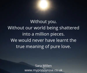 Baby loss Quote: Without you, without our world being shattered into a million pieces. We would never have learnt the true meaning of pure love.
