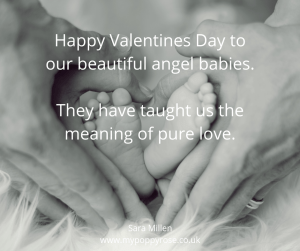 Baby loss quote: Happy valentines day to our beautiful angel babies. They have taught us the meaning of pure love.