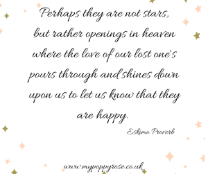 Grief Quote: Perhaps they are not stars, but rather openings in heaven where the love of our lost loved ones pours through and shines down upon us to let us know that they are happy.