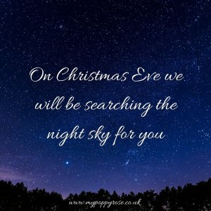 Baby loss Quote: On Christmas eve we will be searching the night sky for you.