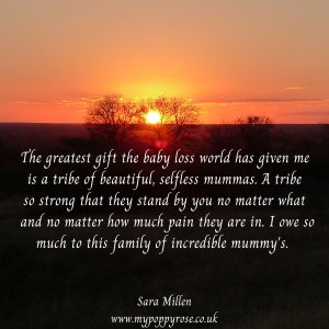Quote: The greatest gift the baby loss world has given me is a tribe of beautiful, selfless mummas. A tribe so strong that they stand by you no matter what and no matter how much pain they are in. I owe so much to this family of incredible mummy's.