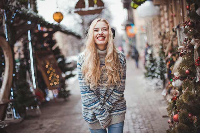Christmas Time Let it Snow - Girl Portrait in Sweater