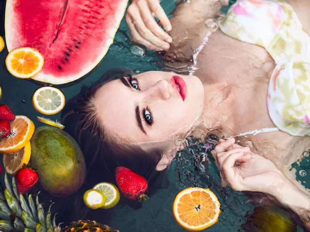 Fruit Punch Girl Portrait with Fruits