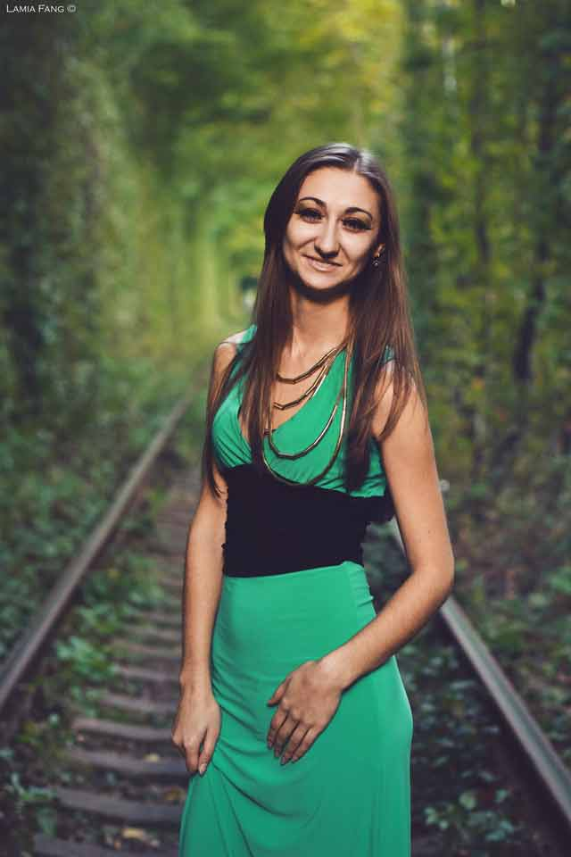 Smiling Girl on Railway Track Mystical Tunnel 11