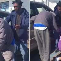 Three young men run from gas station to assist elderly couple as cop stands in awe of kindness