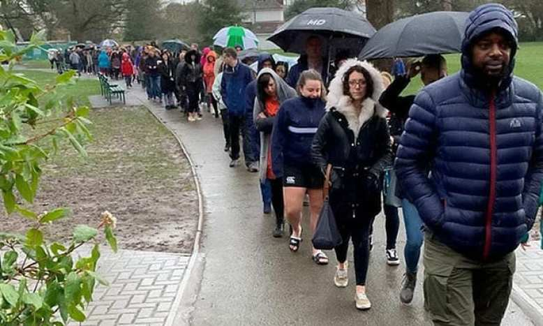 Almost 5,000 people lined up through the gates of Pitmaston Primary School in the UK.