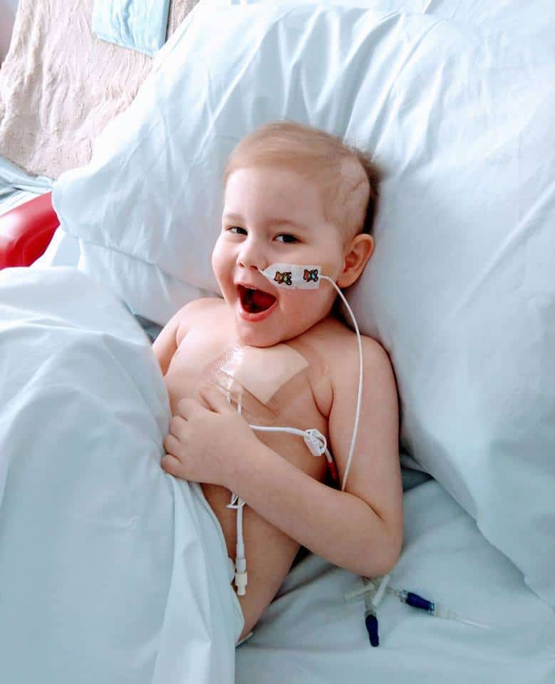 Oscar Saxelby-Lee in the hospital