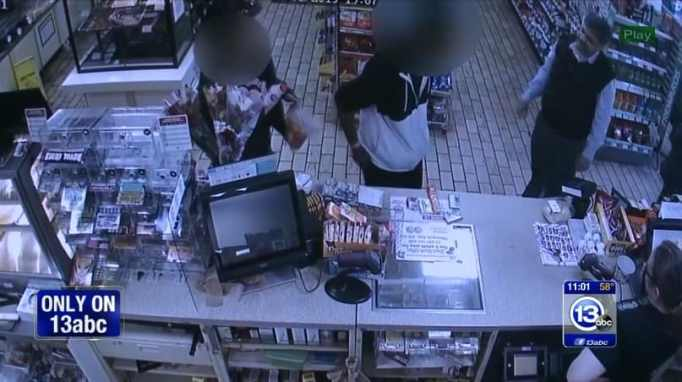 Jay confronting the shoplifter in the counter area