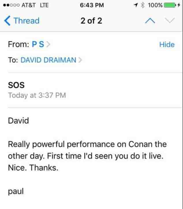 Email of Paul Simon to Disturbed.