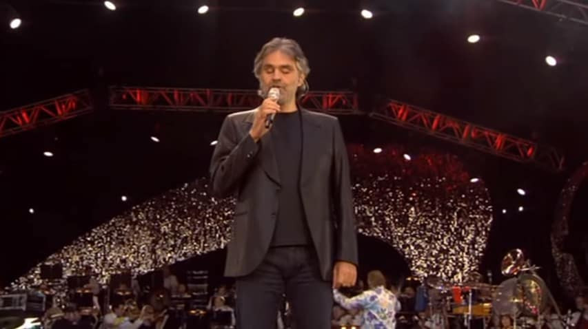 Andrea Bocelli singing The Music of the Night at the Wembley Stadium on July 1, 2007