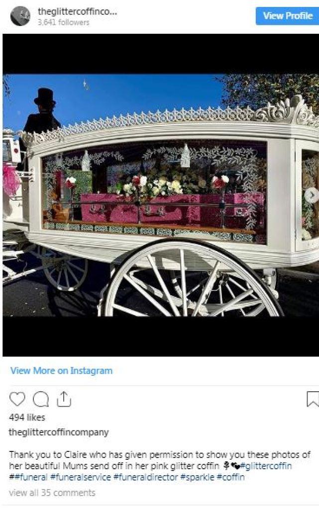 pink glitter coffin