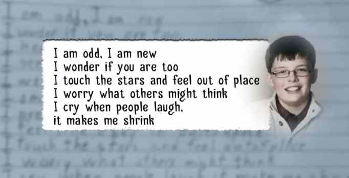 Boy with autism writes moving poem about how odd he is for a school assignment