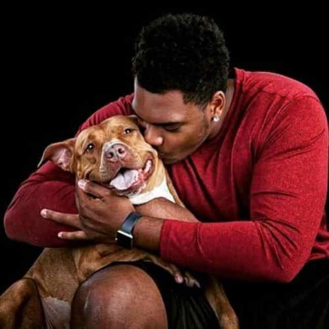 NFL player Ronnie Stanley with his adopted dog Winter