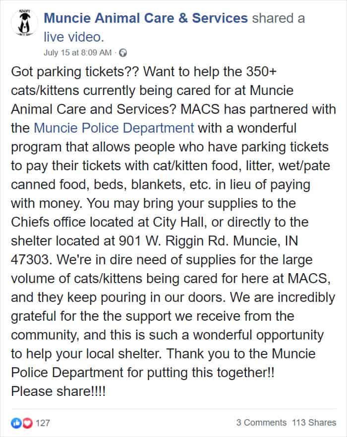 Muncie residents can now pay off their parking tickets by donating cat food