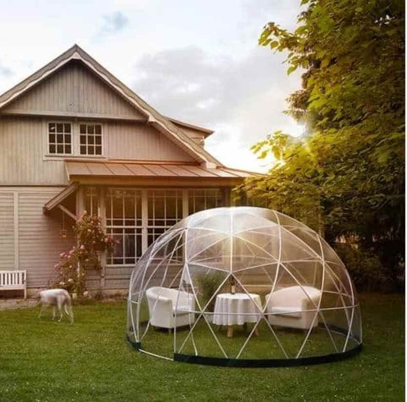 A romantic date in a garden dome igloo