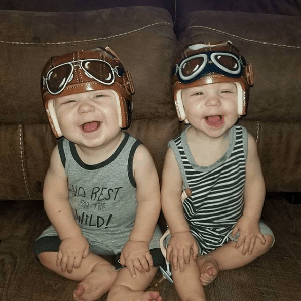 happy babies with their corrective helmets