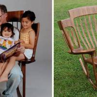This triple rocking chair is what every grandparent needs