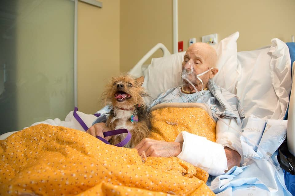 Hospice patient with dog.