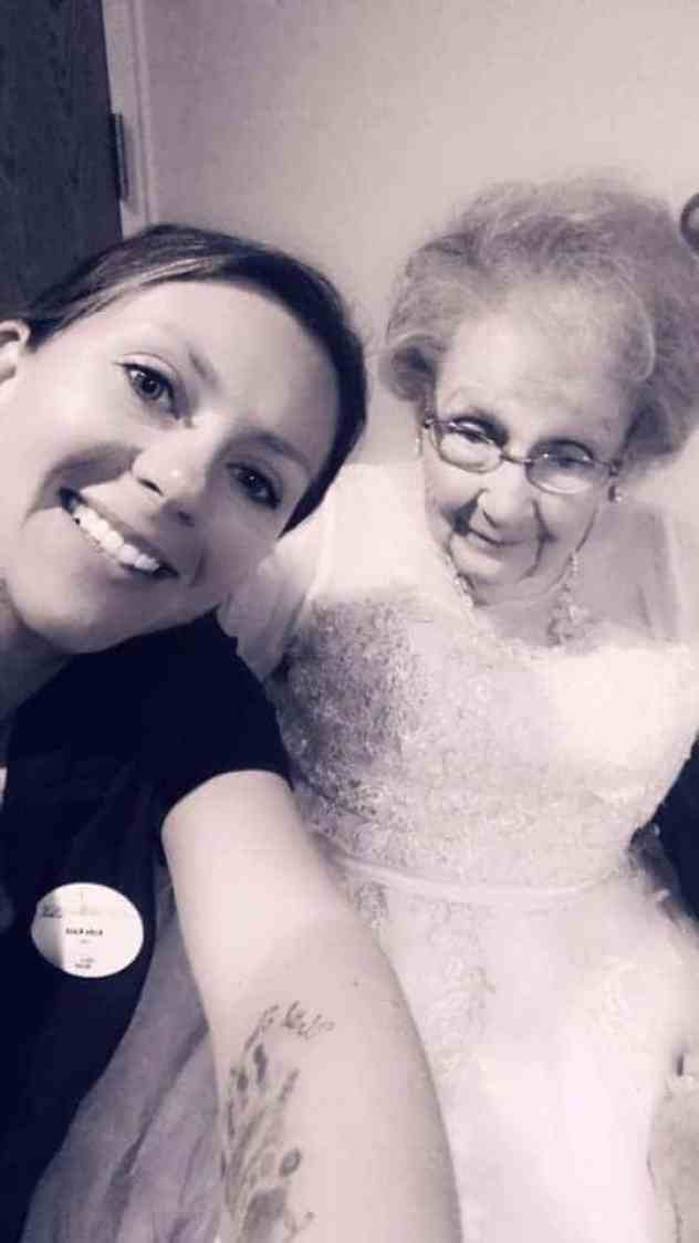 Nurse taking care of elderly people at a senior living facility.