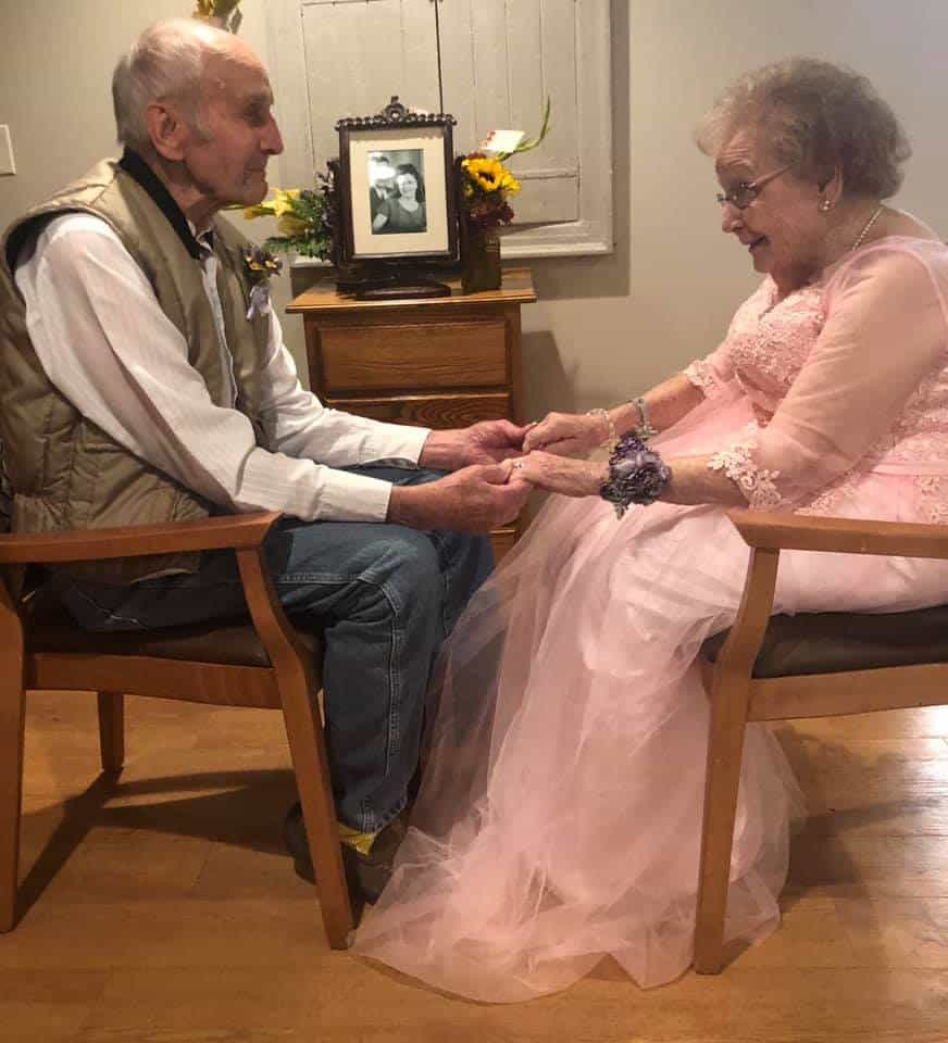 Celebrating their anniversary at a senior living facility.