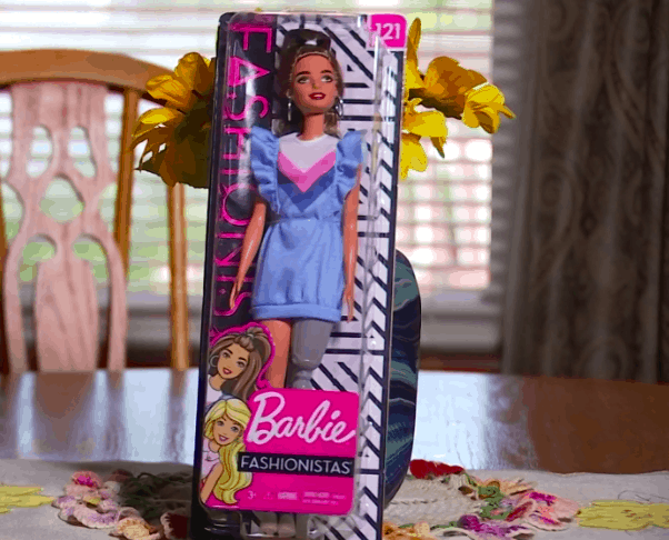 Barbie doll with a prosthetic leg