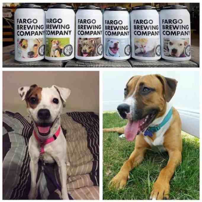 Rescue dogs featured on beer cans for adoption.