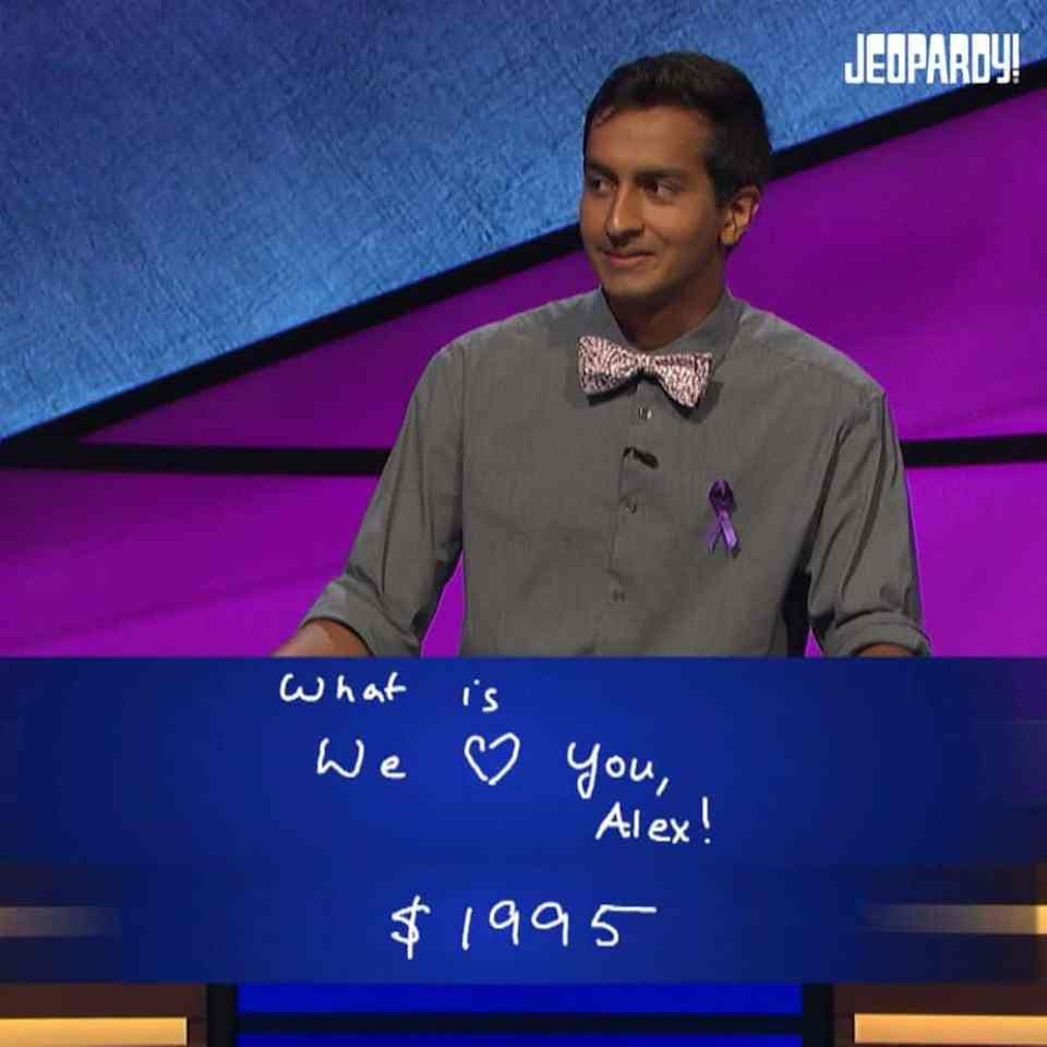 Contestant honors Alex Trebek who has been fighting pancreatic cancer.