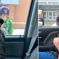 Boy and his lost dog share emotional reunion at school when family surprises him