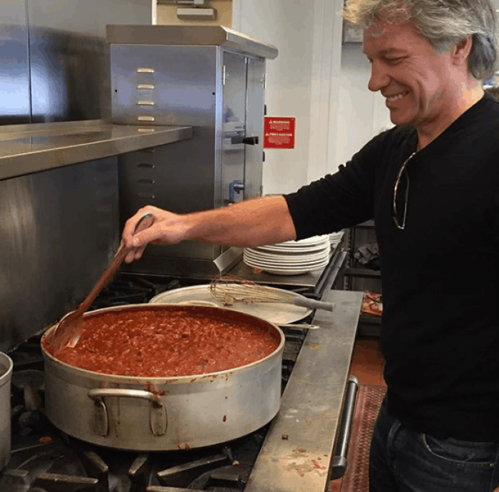 Rockstar Bon Jovi cooks at his own restaurants.