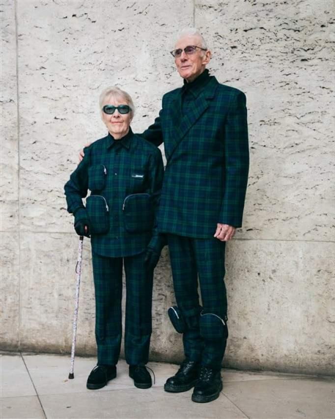 Grandparents model for grandson's show.